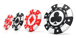 Casino chips with spade, heart diamond and club on it. 3D render Royalty Free Stock Images