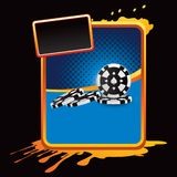 Casino chips on splattered banner Stock Photography