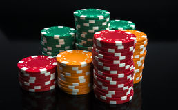 Casino chips stacks. Royalty Free Stock Image