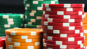 Casino chips stacks close up Royalty Free Stock Images