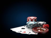 Casino chips stacks with roulette, play cards and dice. 3d Illustration on black and blue background royalty free illustration