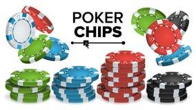 Casino Chips Stacks Vector 3D realista Juego de póker coloreado Chips Sign Illustration Imagen de archivo libre de regalías