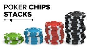 Casino Chips Stacks Vetora Jogo de pôquer em linha colorido realístico Chips Set Isolated Illustration Imagens de Stock Royalty Free