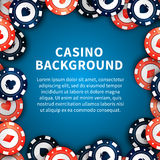 Casino chips on table, background with text template Royalty Free Stock Photos