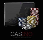 Casino Chips with Tablet, online casino concept, 3d Illustration of Casino Games Elements Royalty Free Stock Photo