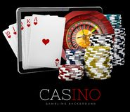 Casino Chips with Tablet, online casino concept, 3d Illustration of Casino Games Elements stock photography