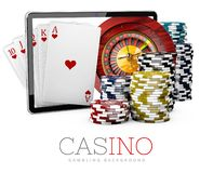 Casino Chips with Tablet, online casino concept, 3d Illustration isolate black Stock Images
