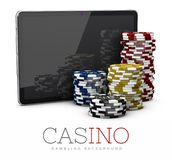 Casino Chips with Tablet, online casino concept, 3d Illustration isolated white Royalty Free Stock Images