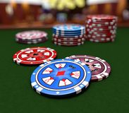Casino chips. On the tale royalty free illustration