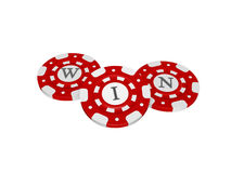 Casino chips with win symbol Royalty Free Stock Photo