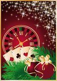 Casino Christmas card with roulette-clock Stock Photography