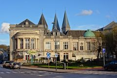 Spa casino building in neo classical style. Casino of the city of Spa on a sunny day, the oldest casino building in Belgium Royalty Free Stock Images