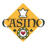 Casino club gambling isolated icon poker chip. Gambling casino royal club isolated icon poker chip and crown vector play cards blackjack game with money stakes stock illustration