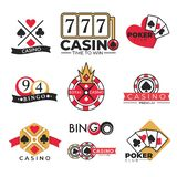 Casino club gambling poker and bingo isolated icons stock illustration
