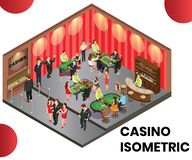 A Casino Club Where people are Playing Isometric Artwork Concept vector illustration