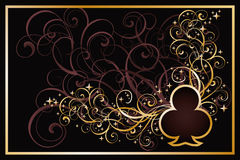 Casino clubs golden card. Vector illustration Royalty Free Stock Photo