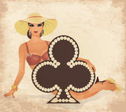 Casino Clubs poker cards pin up woman Stock Photo