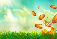 Casino coins flying from an Easter egg shells. Casino coins flying from an golden Easter egg shells Stock Photography