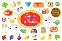 Casino Collection. Gambling set isolated on a white background. Poker, card games, one-armed bandit, roulette kit Royalty Free Stock Photos