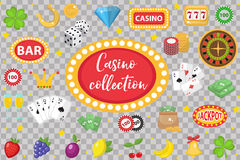 Casino Collection. Gambling set  on a white background. Poker, card games, one-armed bandit, roulette kit of Stock Photography