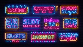 Casino collection Neon signs vector design template. Casino neon logo, light banner design element colorful modern. Design trend, night bright advertising royalty free illustration