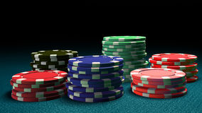 Casino color chips blue table Royalty Free Stock Images