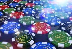 Casino colorido Chips Table Fotos de Stock