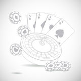 Casino composition with roulette wheel Stock Photos