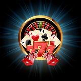 Casino  Composition with Roulette Wheel. Playing Cards ans Dice Stock Photos