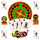 Casino composition with roulette wheel, playing cards and chips. royalty free illustration