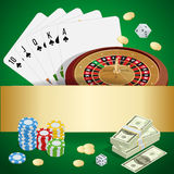 Casino concept. Casino background with cards, chips, craps and roulette. Flat 3d vector isometric illustration Stock Photo