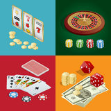 Casino concept. Casino background with cards, chips, craps and roulette. Flat 3d vector isometric illustration Stock Image