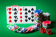 Casino concept - chips and cards Stock Images
