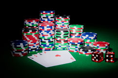 Casino concept - chips and cards Stock Photography