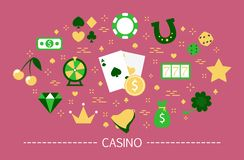 Casino concept. Gamble addiction. Play pocker and roulette. And win jackpot. Luck and fortune. Set of colorful icons. Isolated flat vector illustration vector illustration