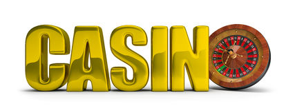 CASINO concept. Gold inscription CASINO with roulette. 3d image. White background Stock Photos