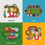 Casino Concept Icons Set Royalty Free Stock Photos