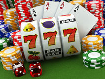 Casino concept. Jackpot. Poker cards, chips and dice. 3d vector illustration