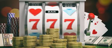 Slot machine, money, aces and poker chips. 3d illustration Stock Images