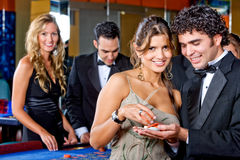 Casino couple Stock Photography