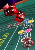 Casino Craps. Table, dice in motion. v3 3D royalty free illustration