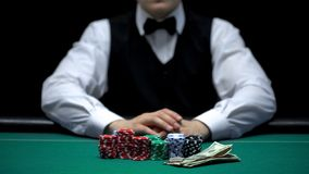 Casino croupier at green table with bet, chips and money, gambling business. Stock photo royalty free stock image