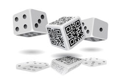 Casino cubes and QR-code cube. Stock Image