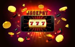 Casino d'or de machine à sous de victoires chanceuses de gros lot au téléphone portable illustration de vecteur