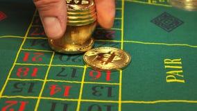 Casino de Bitcoin que apuesta, y ruleta almacen de video
