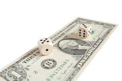 Casino de jeu de facture de risque du dollar photographie stock