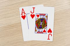 Casino de la veintiuna que juega tarjetas del póker imagen de archivo