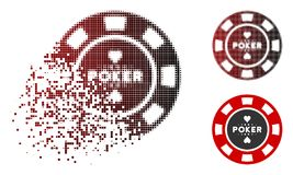 Casino de semitono destrozado Chip Icon del póker del pixel stock de ilustración