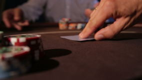Casino. Dealing cards. Two aces stock video