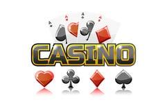 Casino des textes de logo et cartes de jouer, pour l'élément de jeu d'Ui illustration libre de droits